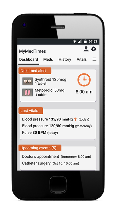 MyMedTimes Patient and Caregiver Mobile App